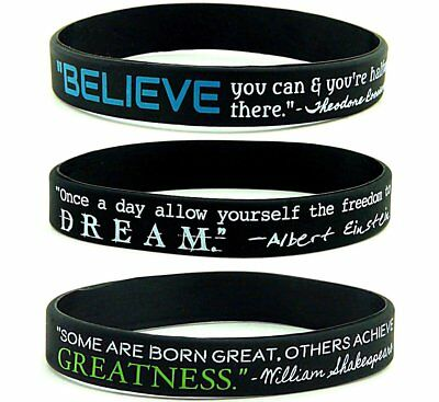 Motivational Quote Believe Dream Greatness Silicone Rubber Bracelet Wristband