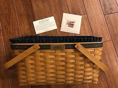 Longaberger 2004 Collector Club Membership Basket 2nd Ed Liner Protector COA