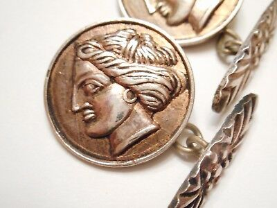 EARLY - Antique 800 SILVER Figural LADY FACE - BUTTON Cufflinks GREEK or ROMAN