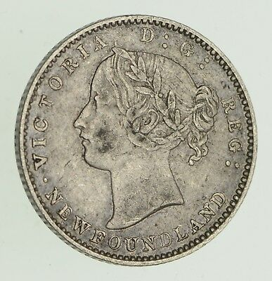 Roughly Size of Dime - 1873 Newfoundland 10 Cents - World Silver Coin *629