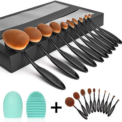10Pcs New in Gift Box Professional Makeup Oval Brushes+Oval Cream Puff US Ship