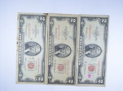 Lot (3) Red Seal $2.00 US 1953 or 1963 Notes - Currency Collection *087