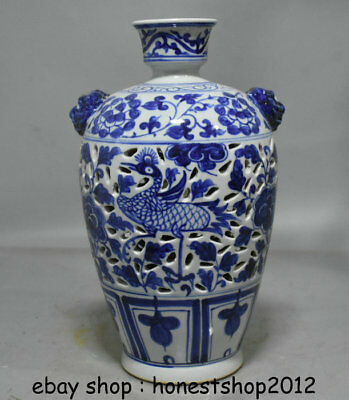"13,6 ""Old China Blue White Porzellan Dynastie Pfau Vögel Blume Flasche Vase"