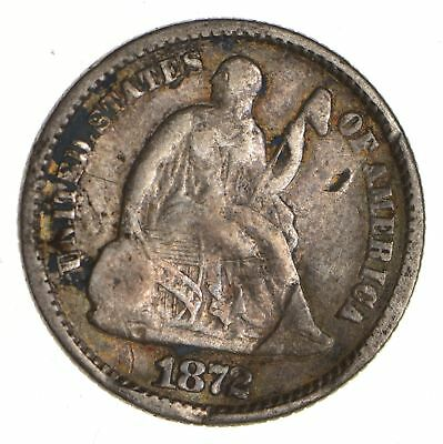 5c ***1/2 Dime** - 1872 Seated Liberty Half Dime - Early American Type Coin *948