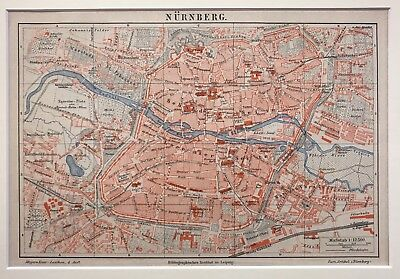antiker Stadtplan von Nürnberg .Original Antique City Map Nuremberg 1885 Meyer.