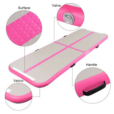 10ft Airtrack Air Track Floor Inflatable Gymnastics Tumbling Mat GYM +Pump PINK