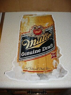 Metal Ice Cold Beer Can Sign Miller Genuine Draft