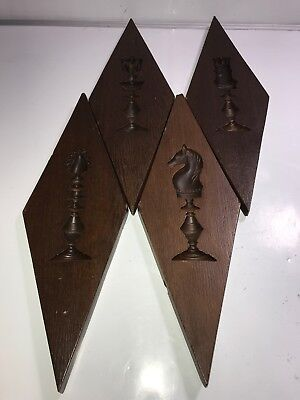 Vintage Chess Set of 4 Wall Plaques rare mid century rare
