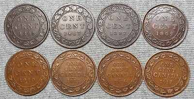 Lot Of 8 Nice Canada Large Cents - 1882 H, 1887, 1897 , Etc.