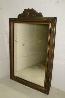 20s Vtg/Antique WOOD FRAME MIRROR Wooden DECORATIVE Nouveau FLORAL Painted GESSO