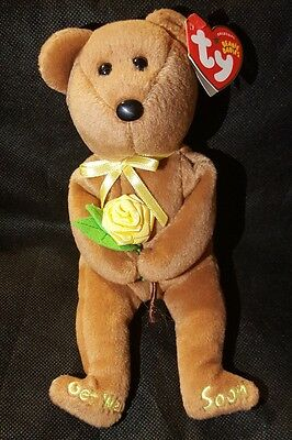 TY ORIGINAL BEANIE BABIES Get Well Soon Beanie Baby BANDAGE with Yellow Rose