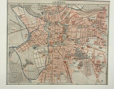 Original Antique City  Map In Colour Of Frankfurt Am Main By Meyer. In German.