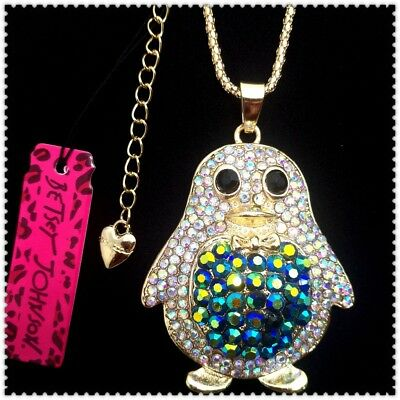 Betsey Johnson Crystal Penguin Pendant charm Sweater chain necklac gift WQ
