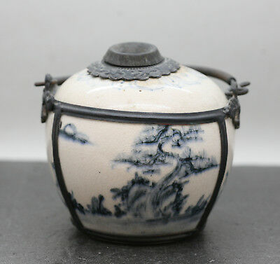 Antique Vietnamese Hand Painted Porcelain   Pipe Bowl Mounted In Pewter