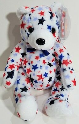 "TY Beanie Babies ""WHITE"" USA PATRIOTIC TEDDY BEAR - MWMTs! RETIRED! A MUST HAVE!"