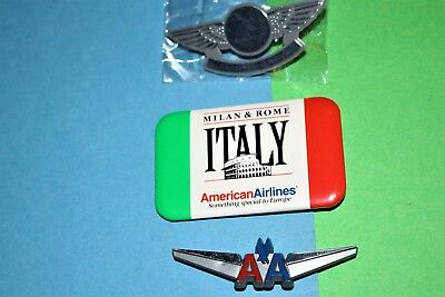 Milan & Rome Italy American Airlines Ad Button Junior Pilot Kiddie Wings Pin Lot