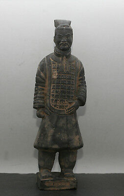 Vintage Chinese Xian Qin Dynasty Terracotta Ceramic Warrior Sculpture c1970s