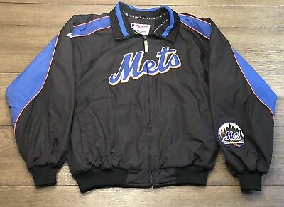Majestic Authentic Mens Size XL MLB New York Mets Fleece Lined Zip Up Jacket