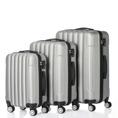 3PCS Travel Luggage Set Bag ABS Trolley Hard Shell Suitcase Gray