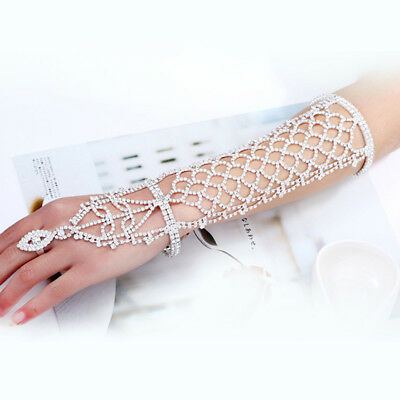 Women Crystal Hand Chains Ring Wedding Bracelet Bridal Lady Belly Dancer Jewelry
