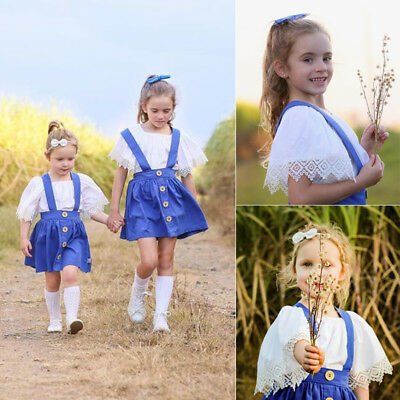 Newborn Toddler Cute Baby Girls Lace Tops Strap Skirt Dress Outfits Clothes
