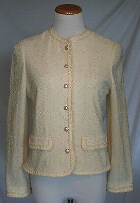 Vintage Butte Knitwear Suit Jacket Medium Yellow Ivory Cream Textured 1960s T31