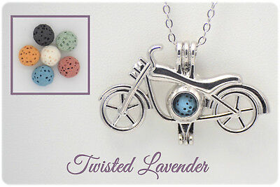 Motorcycle Essential Oil Aromatherapy Bike Necklace with 6 lava stones