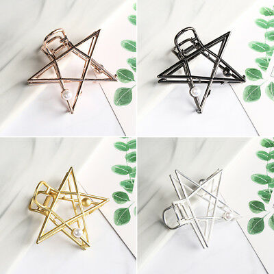 Women Metal Hair Claw Hair Clips Pearls Stars Hairgrip Bun Maker Hair Styling