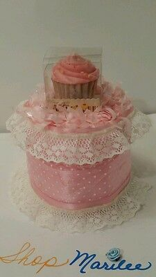 Pink Cupcake Candle Baby Shower Diaper Cake Birthday Decoration Table Topper