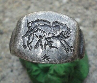 Ancient Roman Senatorial Legionary Silver ring Inscribed she-wolf VII Gemina
