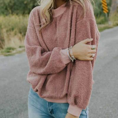 Sexy Women's Winter Casual Plush Long-sleeved Knitwear Pullover Sweater Tops New