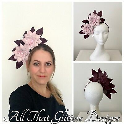 Ladies Burgundy & Pink Leather Headband Fascinator Wedding Races