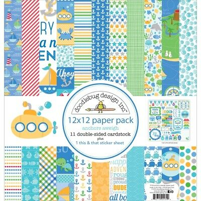 """Doodlebug Double-sided Paper Pack 12""""x12"""" 12/pkg-anchors Aweigh"""