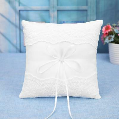 Double Lace Flowers Wedding Ring Pillow Cushion Bearer Ring Display Holder