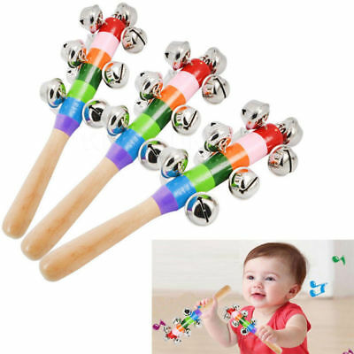 Baby Kid Wooden Rattles Colorful Handle Shaker Percussion 10 Bells Musical Toys