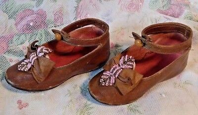 Exquisite Pair Of 4 Inch Genuine Antique Childs Leather Shoes