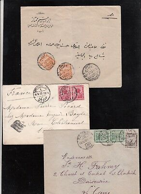 Egypt  1917/18 Used 3 Covers Franked De La Rue Pictorial Stamps