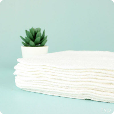 White Bamboo + Cotton Reusable Wipes- 12 Pack | Reusable, Washable Wipes
