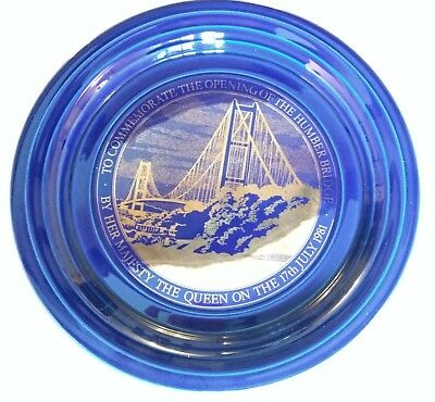 Cobalt blue Hornsea pottery plate commemorating the opening of the Humber Bridge