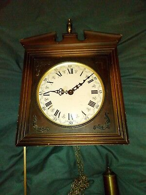 Large Antique Wall Clock Wooden Case Pendulum in need of restoration w german