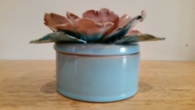 Hermione Palmer (Faience) lower rose petal ceramic container  (Vintage)