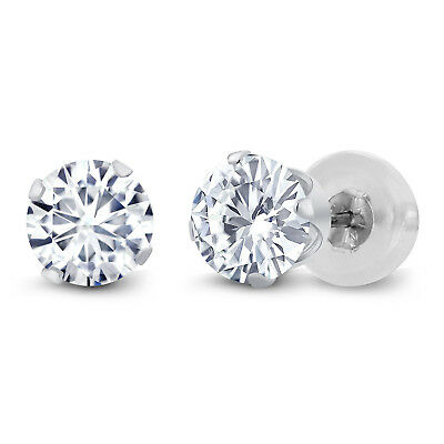 Charles & Colvard 14K White Gold Earrings Forever Classic Moissanite 1.00ct DEW