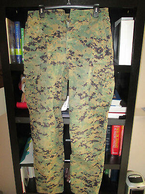 Bdu Digital Acu Usmc Marine Corps Woodland Marpat Camo Pants Size Small Long