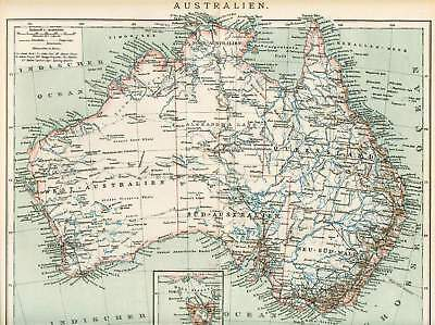AUSTRALIEN Tasmanien Queensland LANDKARTE von 1897 New South Wales Australia MAP