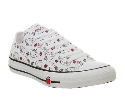 d1613b71e8ce5 Womens Converse Converse All Star Low Trainers Hello Kitty White Fiery Red  Train