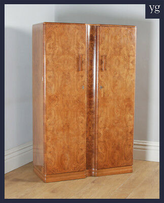 Antique Art Deco Burr Walnut 2 Door Armoire Wardrobe by Ray & Miles of Liverpool