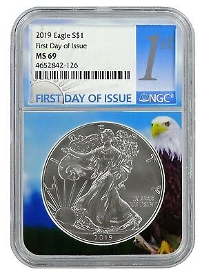 2019 1oz Silver Eagle NGC MS69 - First Day Issue - Eagle Core