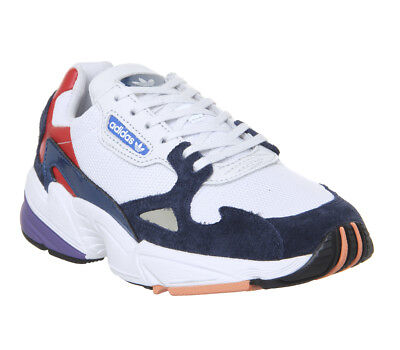 911b05b79f96 Womens Adidas Falcon Trainers Crystal White Collegiate Navy Red Trainers  Shoes