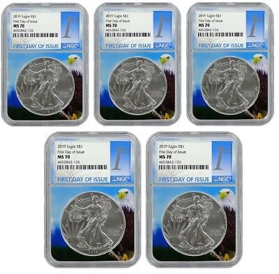 2019 1oz Silver Eagle NGC MS70 First Day Issue - Eagle Core 5 Pack