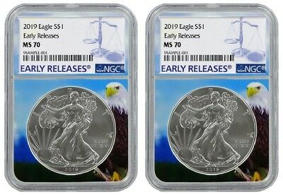 2019 1oz Silver Eagle NGC MS70 - Early Releases - Eagle Core 2 Pack